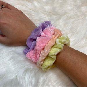 Rainbow Pastel Velour Scrunchies Set